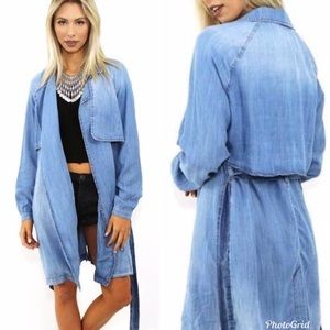 Anthropologie Cloth & Stone Chambray Trench Coat
